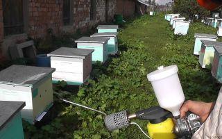 Использование дымовой пушки для лечения пчел