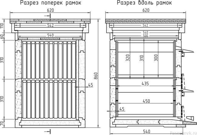 чертеж Двухкорпусный улей