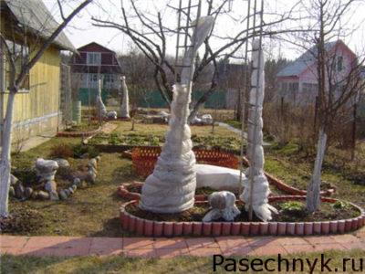укрытие деревьев от мороза